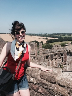 At the highest point of Raglan Castle